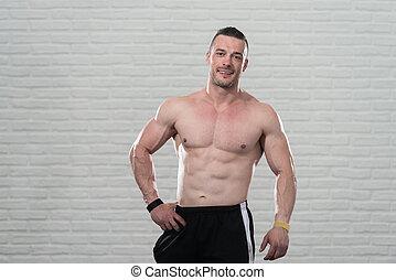athletische, mann, shirtless