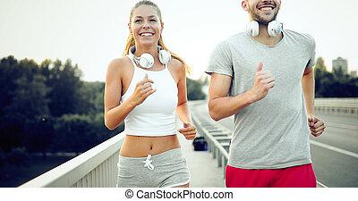 athletische, paar, jogging, zusammen