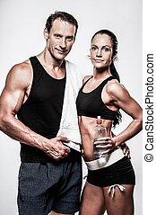 athletische, paar, nach, übung, fitness