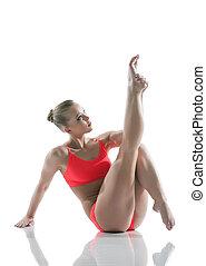 athletische, posierend, frau, studio, junger