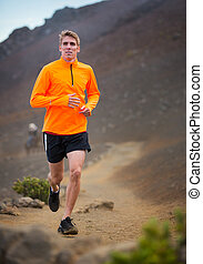 athletische, rennender , draußen, mann- rütteln, training