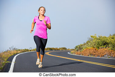 athletische, rennender , frau, jogging, draußen