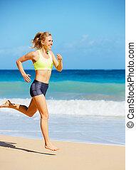 athletische, rennender , frau, sandstrand
