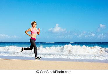 athletische, rennender , frau, sandstrand, fitness