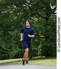 athletische, rennender , mann, junger, draußen