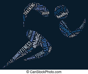athletische, rennender , piktogramm, auf, blauer hintergrund