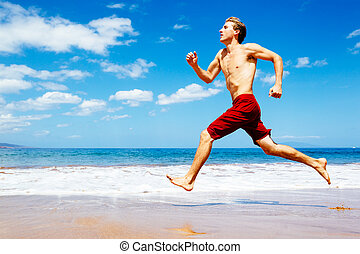 athletische, rennender , sandstrand, mann