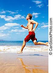 athletische, sandstrand, bemannen lauf