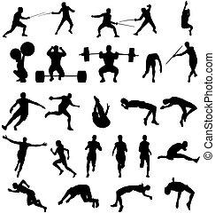 athletische, silhouetten, sammlung
