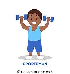 athletische, sportler, kind, starke , dumbbell., kind