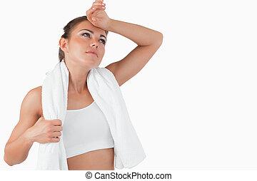 athletische, weibliche , wischen, schweißperlen, aus, sie,...