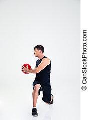 athletische, workout, kugel, mann, fitness