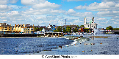Athlone city and Shannon river - Panorama of Athlone city...