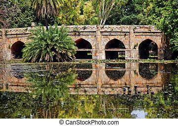 athpula, megkövez bridzs, visszaverődés, lodi, kert, new delhi, india