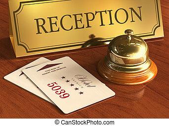 atienda campana, y, cardkeys, en, recepción del hotel,...