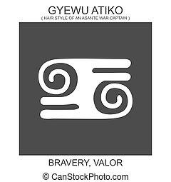 atiko., dzielność, gyewu, ikona, waleczność, symbol, adinkra...