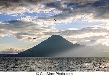 atitlan, guatemala, lac, volcan, &