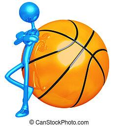 atitude, basquetebol, magro
