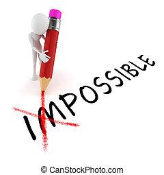 atitude, optimista, fundo, branca, homem, lápis, 3d