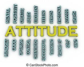 atitude, palavra, fundo, imagen, 3d, nuvem, conceito, ...