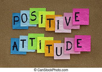 atitude, positivo, lembrete