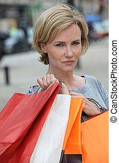 atitude, shopping mulher