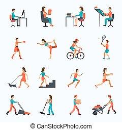 atividade, físico, ícones