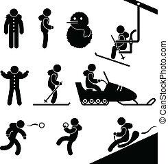 atividade inverno, chairlift, esquiando