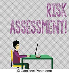 atividade, risco, trabalhando, assessment., books., foto, mostrando, sentando, projetado, escrita, negócio, showcasing, computador, riscos, avaliar, envolvido, conceitual, homem negócios, cadeira, mão, potenciais
