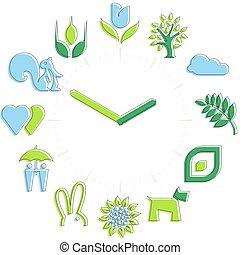 atividades, ícones, primavera, relógio, esfera, time., hours.