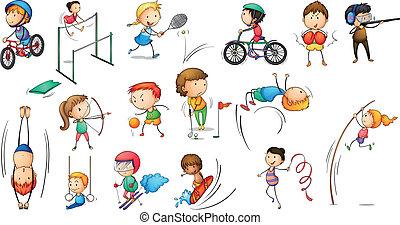 atividades, diferente, esportes