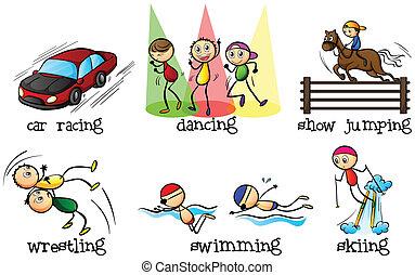 atividades, diferente, físico