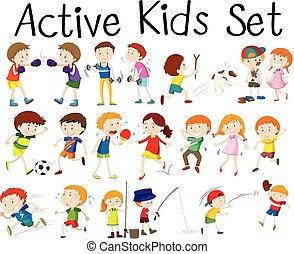 atividades, diferente, jogo, crianças