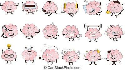 atividades, diferente, jogo, emoções, cérebro, ícone