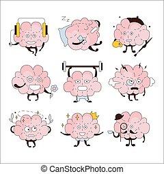 atividades, diferente, jogo, emoticons, cérebro, ícone