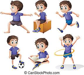 atividades, diferente, menino jovem