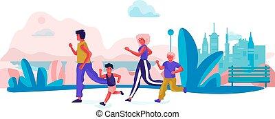 atividades, família, feliz, cena, caricatura, executando, exercícios, holidays., vetorial, pais, trendy, desporto, crianças, park.