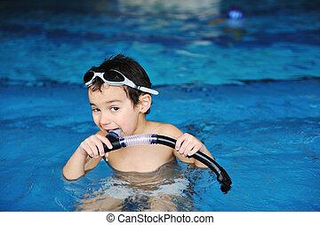 atividades, ligado, a, piscina, crianças, natação, e, tocando, em, água, felicidade, e, verão