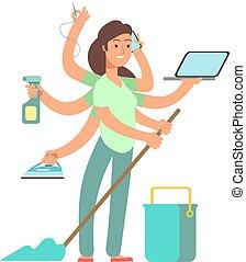 atividades, negócio, concept., mãe, housework, vetorial, mãe, cansado, super