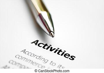 atividades, negócio