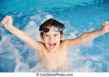 atividades, piscina, tocando, água, verão, crianças, felicidade, natação