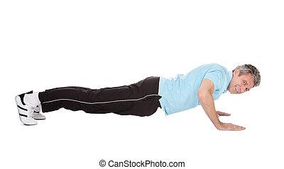 ativo, homem maduro, fazendo, pushups
