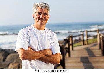 ativo, idade, praia, meio, homem