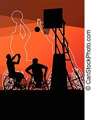 ativo, incapacitado, homens, jovem, basketbal