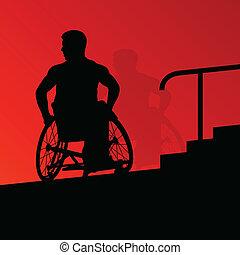 ativo, incapacitado, homens jovens, ligado, um, cadeira rodas, detalhado, cuidado saúde, degrau, passos, conceito, silueta, ilustração, fundo, vetorial
