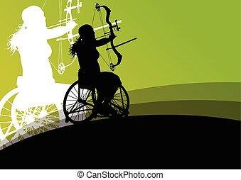 ativo, incapacitado, mulheres jovens, em, um, cadeira rodas,...