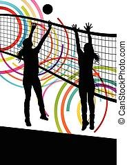 ativo, jovem, voleibol, mulheres