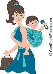 ativo, mãe, com, bebê, em, um, funda