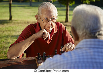 ativo, pessoas aposentadas, dois, homens sênior, xadrez jogando, em, parque
