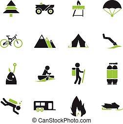 ativo, recreação, ícones